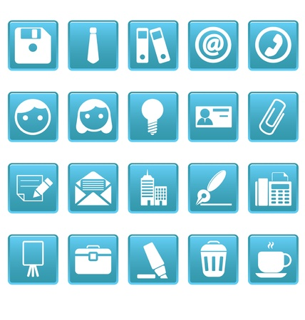 Office icons on blue squares Stock Vector - 19478740