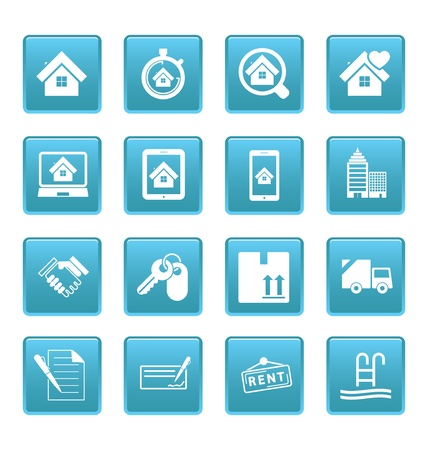 picto: Real estate icons on blue squares