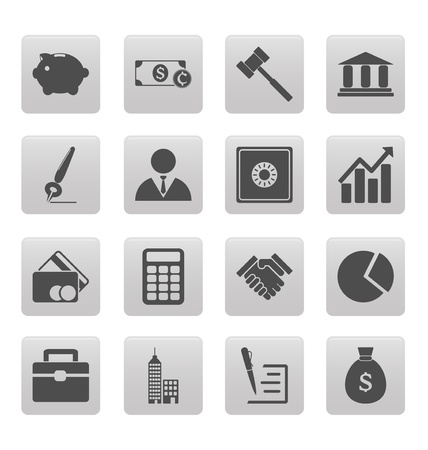 Business icons on gray squares Vector