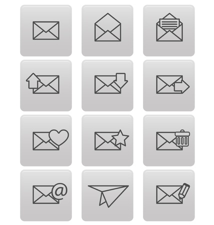 Envelope icons for email on gray squares Stock Vector - 19478741