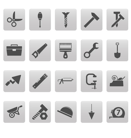 vices: Tools icons on gray squares Illustration