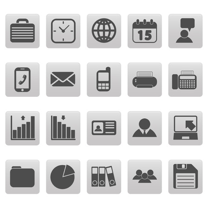 Gray business icons on gray squares Ilustrace