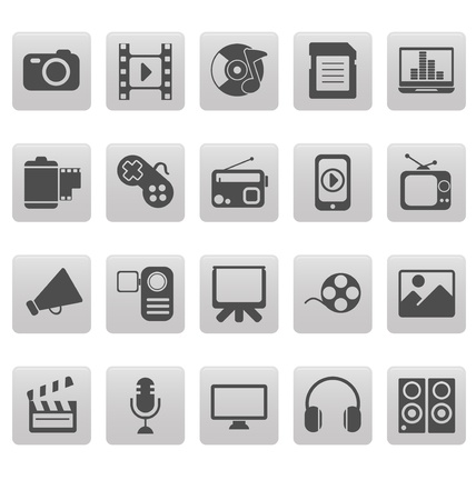 Media icons on gray squares