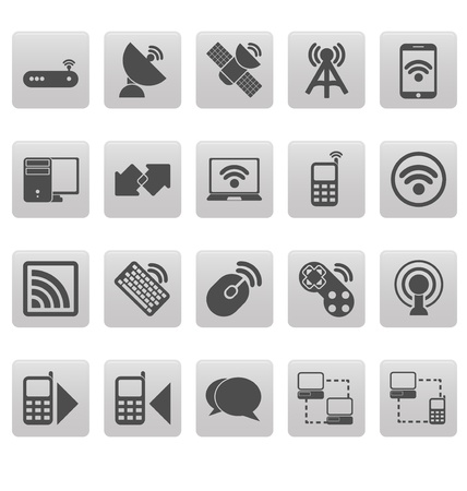 cellular repeater: Wireless icons on gray squares Illustration