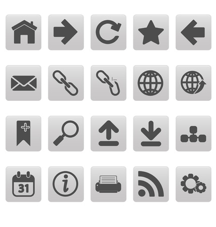 Web icons on gray squares Stock Vector - 19478738