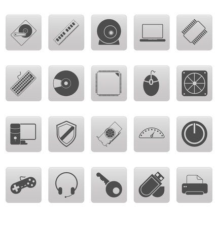 Computer icons on gray squares Stock Vector - 19478737