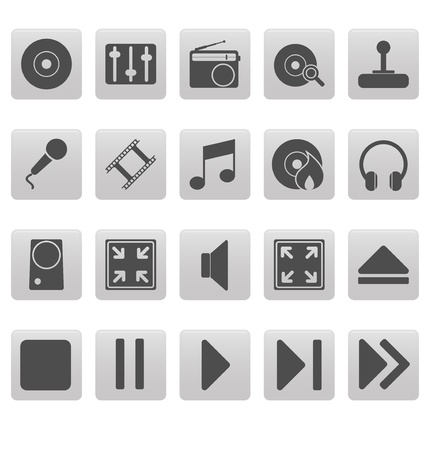 Grey media icons on gray squares Vector