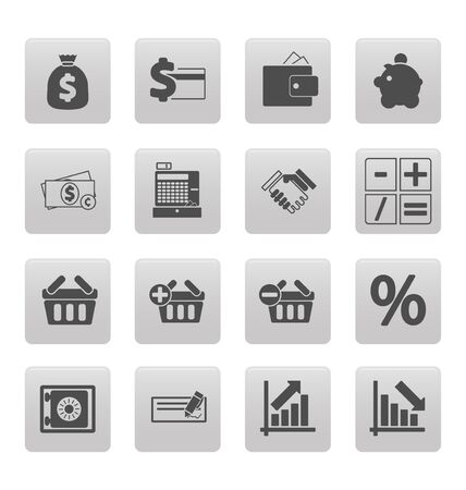 Shopping icons on gray squares Stock Vector - 19478734