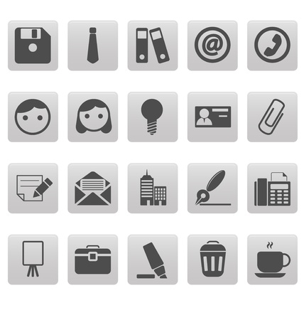 Office icons on gray squares Stock Vector - 19478727