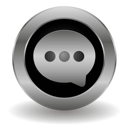 Metallic speech button Vector