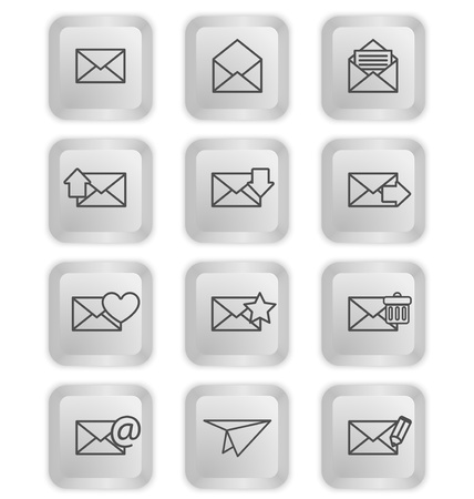 Envelopes for email icons on keyboard buttons Illustration