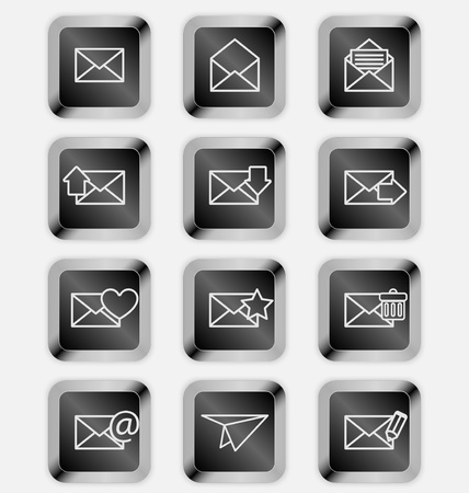 Envelopes for email icons on black keyboard Stock Vector - 19796199