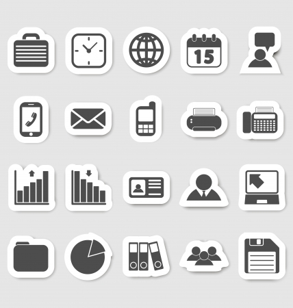 Business and office icons, stikers