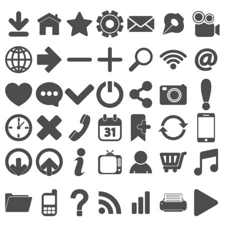 Grey Web Icons Set on white Ilustrace