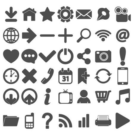 Grey Web Icons Set on white Illustration
