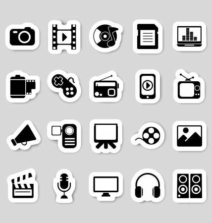 Media icons stickers Vector