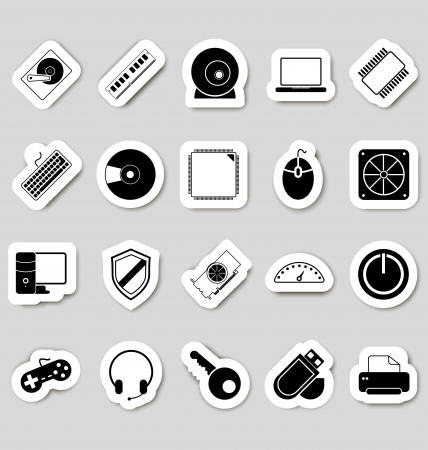 Computer icons stikers Stock Vector - 19796250