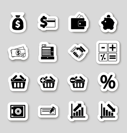 Finance icons on stikers Stock Vector - 19796248