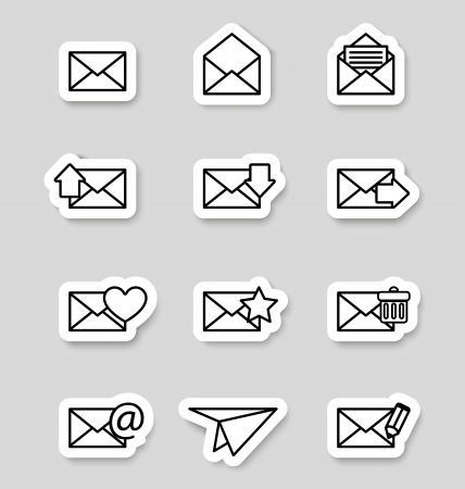 Envelope icons on stikers Stock Vector - 19796247