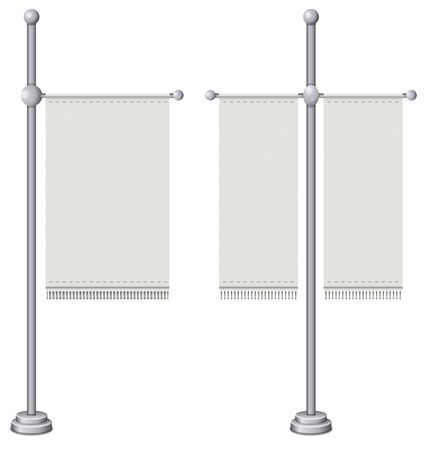 sign pole: Flags on silver pole Illustration