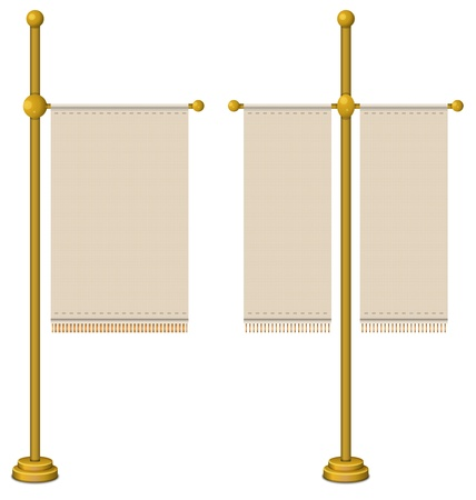 Flags on gold pole