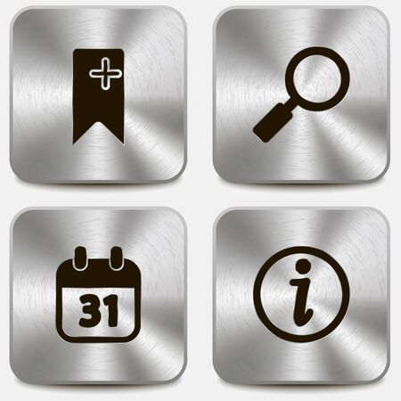 Set of web icons on metallic buttons vol3 Stock Vector - 19796218