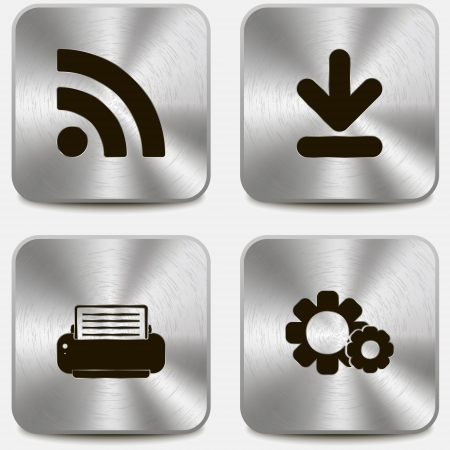 printers: Set of web icons on metallic buttons vol4 Illustration