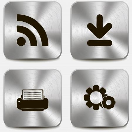 settings: Set van web pictogrammen op metalen knoppen vol4