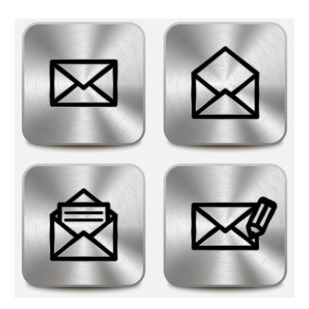 Envelope icons on metallic buttons set vol1