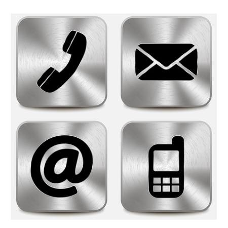 Contact us icons on metallic buttons