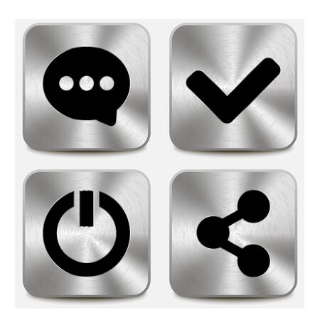 Web icons on metallic buttons set vol 6 Illustration