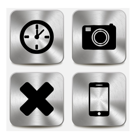Web icons on metallic buttons set vol 7 Stock Vector - 19796242