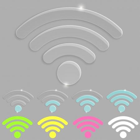 Glass wireless icon Stock Photo - 19989063