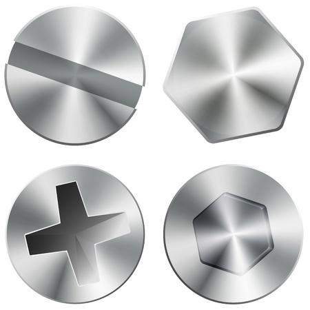 Glanzende metalen schroeven en bouten