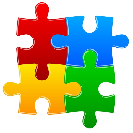 co operation: Four color puzzle background