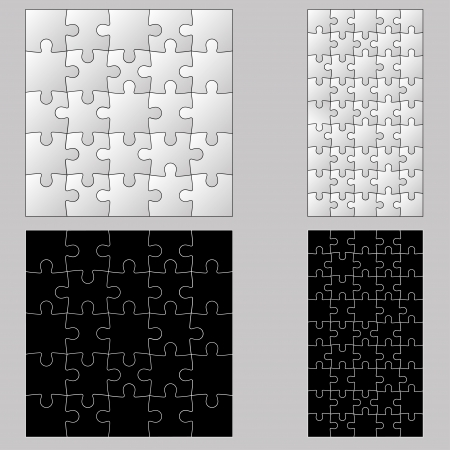 Black anb white puzzles Vector