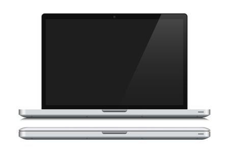 White laptop, closed and opened Stock Vector - 20782786