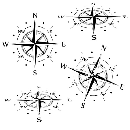 Grunge compass set Stock Photo