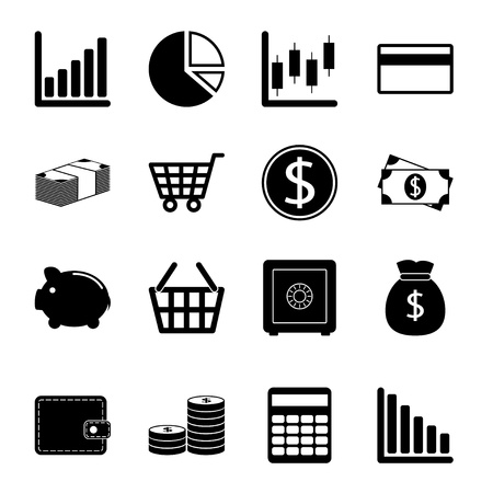 Business and finance icon set Stock Photo