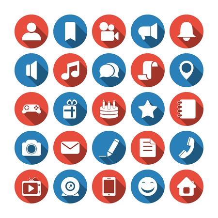 adress: Social and media icons. Editable EPS and Render in JPG format Illustration
