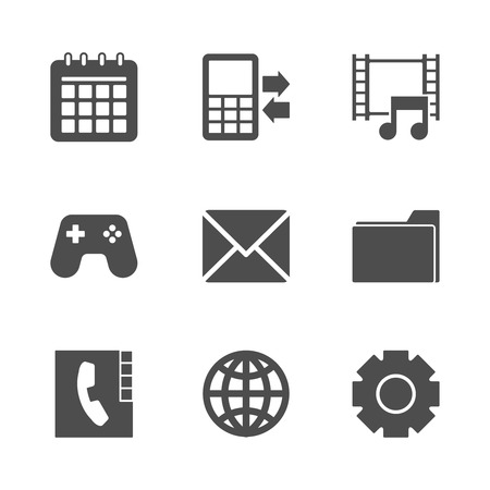 call history: Phone Menu Icons Set. Editable EPS and Render in JPG format Illustration