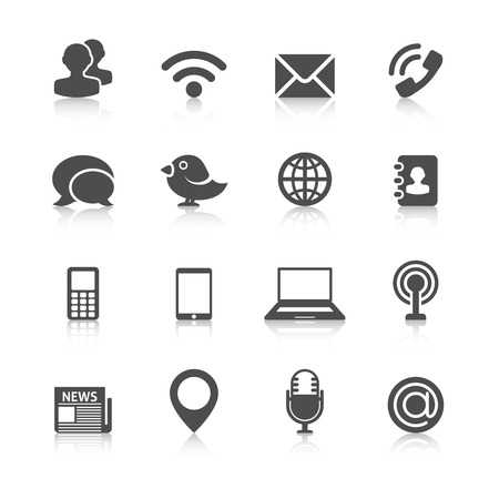 email contact: Communication Icons with Reflection. Editable EPS format Illustration
