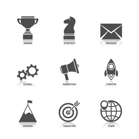 challenge: Start Up Icons with Reflection. Editable EPS format Illustration