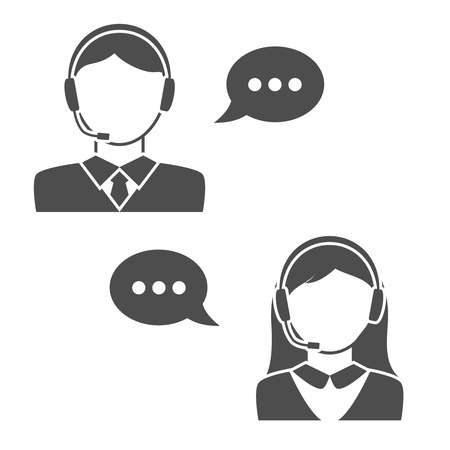 call center office: Male and Female Call Center Avatar Icons. Editable EPS format
