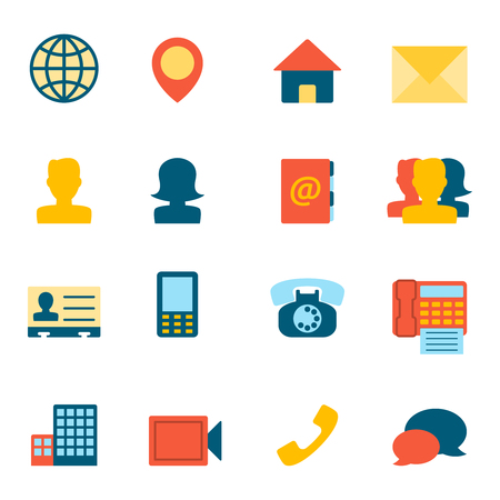 contact person: Contact Icons Flat. Editable EPS vector format