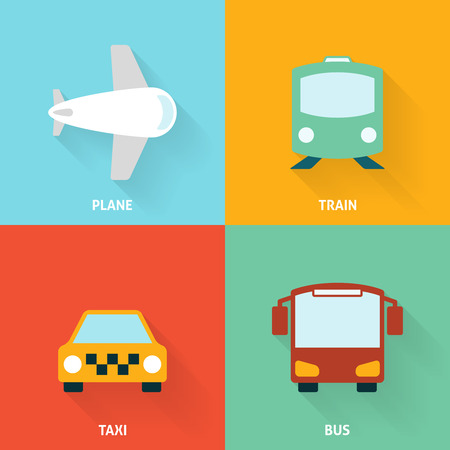icona trasporti: Transport Icon Flat. Editable EPS vector format Vettoriali