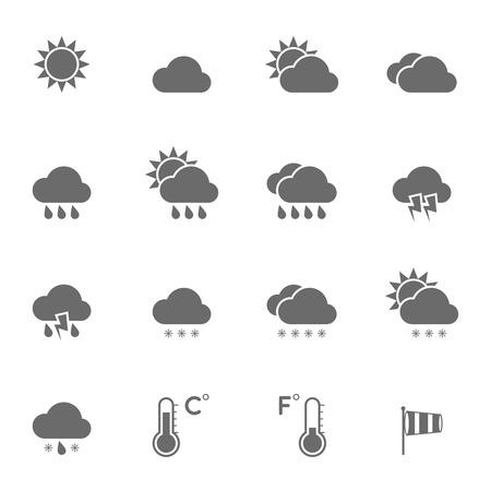 meteo: Icone del tempo impostato. Vettoriali