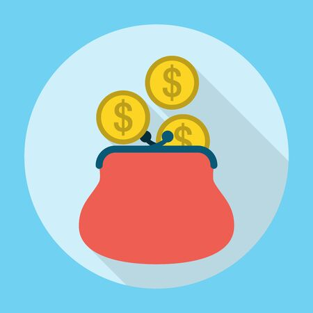 coin purses: Penny in Purse Icon. Editable EPS vector format Illustration