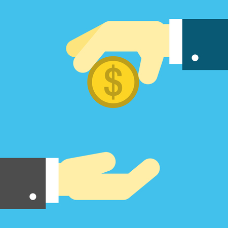 Hands with Penny Icon. Editable EPS vector format