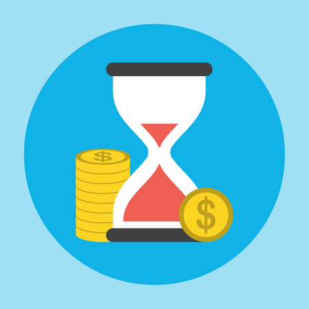penny: Hourglass with the Penny Icon. Editable EPS vector format Illustration